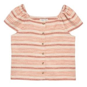 Madewell Texture & Thread Stripe Top Blush Small